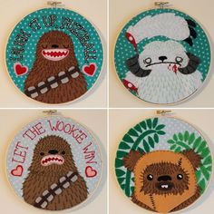 Superb, funny, beautiful applique/embroidery by Love and a Sandwich.  Her creatures have more charm and surprises than all 3 of the prequel movies combined.