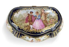 Sevres-Style Hand-Painted Porcelain Box : Lot 387