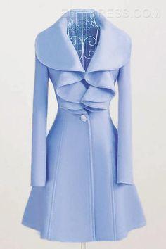 1df7210e21b New Arrival Exquisite Pure Color Falbala Wool Coat Coats