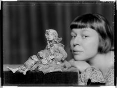Artist Lotte Pritzel and one of her wax dolls, 1924~Image courtesy Data provider: Österreichische Nationalbibliothek - Austrian National Library