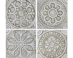 4 Marokkaanse wandkleden gemaakt van keramiek  Set van 4  door GVEGA