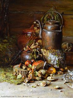 "http://www.russianfineart.com/catalog/prod?productid=26692 ""Still Life With Mushrooms"" - oil, canvas Russian Painter: Yury Nikolaev"