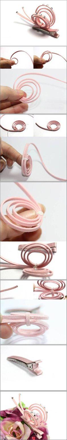big pink snail hair clip - no link, just follow the pics