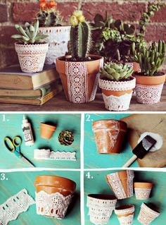 DIY pretty lace flower pots