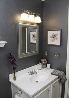 Beau Home Decor   Gray/silver/white/purple Bathroom. Love The Color Scheme    Would It Work For A Very Tiny Powder Room?