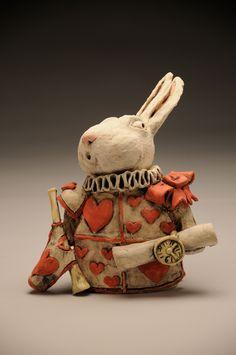 The White Rabbit - Ceramic - Sara E. Morales  #ceramic #sculpture #aliceinwonderland #thewhiterabbit #rabbit