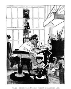 AL HIRSCHFELD: SELF PORTRAIT IN MY STUDIO