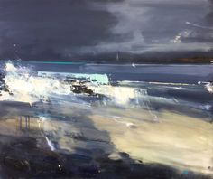Final Day today at the Affordable Art Fair in Battersea Park, open until this evening. This suitably blustery beach is by Cornish painter Hannah Woodman 'Inky Skies, Godrevy' an oil on board measuring x and is priced at including frame and VAT Abstract Landscape Painting, Seascape Paintings, Landscape Art, Landscape Paintings, Painting Art, Guache, Contemporary Landscape, Lovers Art, Amazing Art
