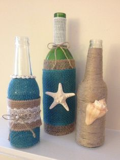 Upcycled Wine Bottle Centerpieces with burlap by BottlesByBirdie, $30.00 for set of 3