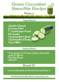 For today's recipe, we are featuring a Phase 2 smoothie recipe with cucumber added with other healthy fruits allowed in this phase. Introducing, Green Cucumber Smoothie Recipe.