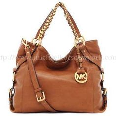 New MICHAEL Michael Kors Grayson Large Logo Satchel,Brown For Sale