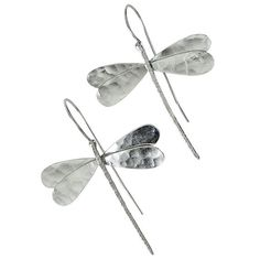 Sterling Silver Dragonfly Drop Earrings / Handmade by emmanuelaGR