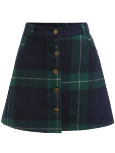 To find out about the Green Blue Plaid Buttons Skirt at SHEIN, part of our latest Skirts ready to shop online today! Green Plaid Skirt, Tartan Mini Skirt, Green Mini Skirt, Tartan Dress, A Line Mini Skirt, Plaid Skirts, Blue Plaid, Tartan Plaid, Cute Skirts