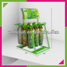 Metal wire counter shop display for beverage