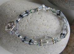 Silver Grey and Black Bead Bracelet  OOAK