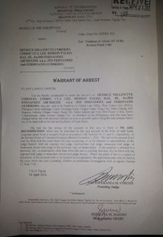 Taguig Regional Trial Court (RTC) has issued arrest warrants against mauling suspects businessman Cedric Lee, model Deniece Cornejo, and three others in connection for the serious illegal detention case filed by actor-host Vhong Navarro. Serious illegal detention is a non-bailable case. The arrest warrants were issued by Judge Paz Esperanza Cortes against Cornejo, Lee, Jed …