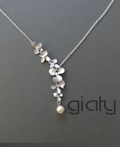 Two flowers and pearl necklace - small necklace, everyday necklace, simple necklace, bff necklace, charm necklace