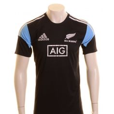 Adidas New Zealand All Blacks Performance Rugby T-Shirt Black, Blue and Silver - £28.00 at ShopRugby.com