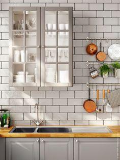 Cozinha cinza arejada e elegante | Decoração e Ideias