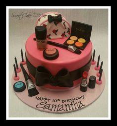 Make up cake for Samanthas 10th birthday!  www.sweetcakeomine.net