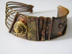 Tracy Nelligan and Erin O'Toole Brass Jewelry, Leather Jewelry, Jewelry Art, Jewelry Design, Jewellery, Copper Bracelet, Metal Bracelets, Bracelets For Men, Bracelet Designs
