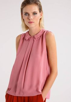 """Blouse - dusty rose. Sheer:semi-sheer. Outer fabric material:100% polyester. Fastening:button. Total length:25.0 """" (Size 8). Collar:Peter Pan collar. Back width:14.0 """" (Size 8). Details:bust darts. Length:normal. Fit:l..."""