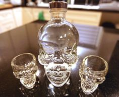 Crystal Head Vodka and skull shot glasses - always on hand in case of visitors. Or just in case.