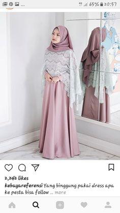Hijab Dresses - Another! Dress Brukat, Hijab Dress Party, Kebaya Dress, Dress Outfits, Kebaya Hijab, Batik Dress, Batik Fashion, Abaya Fashion, Muslim Fashion