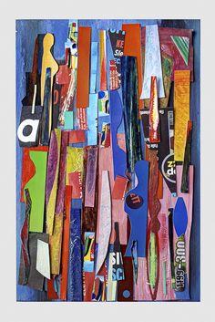 tecnica mista ,collage e smalti su cartone-cm 15x20-autore angelo bressanini