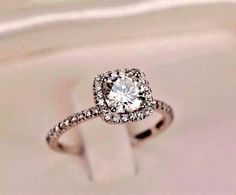 Princess cut with halo ring. I'm absolutely in love
