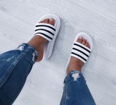 Image about shoes in shoe rack by Kelly on We Heart It Cute Sandals, Slide Sandals, Shoes Sandals, Heels, Looks Adidas, Adidas Slides, Hype Shoes, Ciabatta, Summer Shoes