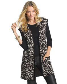 Chico's Women's Maggie Jacquard Cheetah-Print Vest