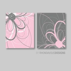 Pink and Gray Floral Flower Duo. - Home. Decor. Nursery. Bedroom. Bed. Bath. Girl - You Pick the Size (NS-427) on Etsy, $15.00