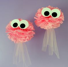 Jellyfish pom kit, SET OF TWO, under the sea ocean water mermaid decoration