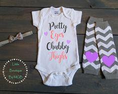 Infant Baby Onesie® Pretty Eyes Chubby Thighs Girls Bodysuit #8
