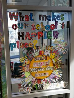 Promoting school unity. The suns rays were made by individual students who visited the library.