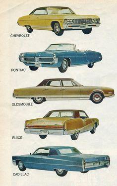 1967 General Motors Line Classic Vintage Cars Antique Classic Trucks, Classic Cars, Cadillac, Bugatti, Rolls Royce, Chevy Motors, Car Drawings, General Motors, Us Cars