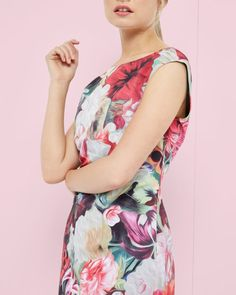 Floral Swirl textured tunic , Fuchsia