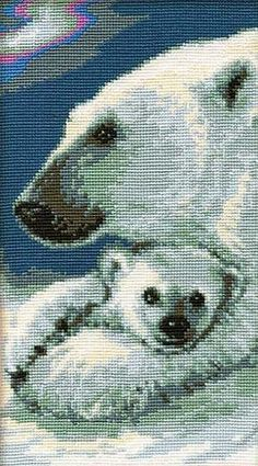 Counted Cross Stitch Patterns, Cross Stitch Charts, Cross Stitch Embroidery, Bear Crafts, Arctic Animals, Cross Stitch Animals, Cross Stitching, Polar Bear, Needlepoint