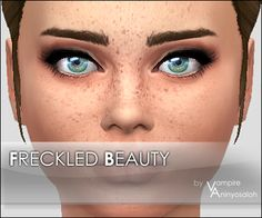 Mod The Sims - Freckled Beauty - face overlay by Vampire_aninyosaloh. The Sims, Sims 4 Teen, Sims 4 Toddler, Sims 4 Cas, Sims Cc, Sims 4 Cc Eyes, Sims 4 Cc Skin, Maxis, Sims 4 Piercings