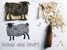 Sheep hand carved stamp