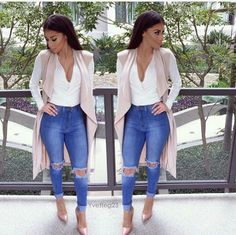 Ripped jeans with nude