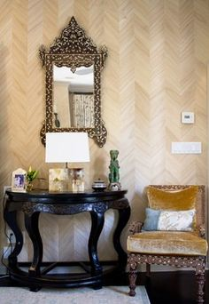 This beautiful real wood veneer wall covering is actually wallpaper! Micro-thin inlay of genuine Paulownia wood on a paper backing makes up this classic 6 inch herringbone pattern with seamless side-match; Ajiro Chevron by Maya Romanoff. Wallpaper We Love at Design Connection, Inc. | Kansas City Interior Design