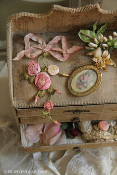 Quaint jewelry box with ribbon roses