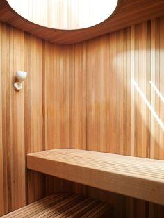 Indoor wooden sauna