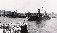 Japanese battleship 'Nisshin' in Malta. 1919.  During the First World War the Japanese fought on the Allied side.