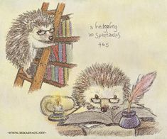 """hedgehog in the library    ---    All artwork on this site is the property of Marika """"Meeks"""" Purisima and may be freely shared under the terms of a creative commons attribution-noncommercial-noderivs 3.0 unported license unless otherwise specified."""