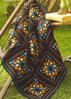 Stained Glass Window Crochet Squares Blanket. Free crochet pattern. More Great…