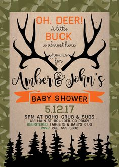 Oh Deer, a little buck is almost here! Baby Shower Invite, includes diaper raffle and book request card to match.  This listing is for a PRINTABLE one-sided Baby Shower invitation for you to print at home or print through a print shop. This invitation comes as 5x7 and the 2 insert cards are 3.5 x 5 *Let me know if you want a different color I can change it for you at no additional charge. To get look shown, print on craft paper.  Everything is sent through email only for you to print…