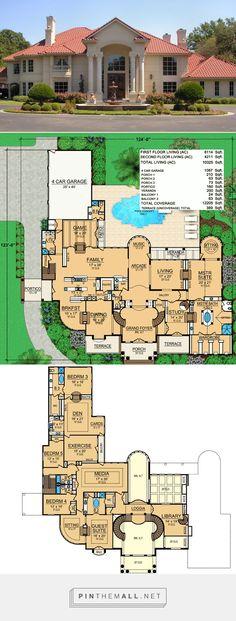 Ft Herrenhaus - House Floor Plans - Home Design House Plans Mansion, Luxury House Plans, Dream House Plans, House Floor Plans, Luxury Floor Plans, Mansion Designs, Casas The Sims 4, Mediterranean House Plans, Grand Foyer